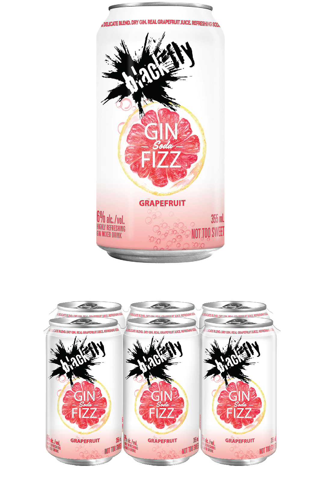 Black Fly - <span style='color:#ffe500;'>Gin Soda Fizz</span> Grapefruit